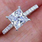 27Ct 14K White Gold Over Halo Princess Cut Diamond Engagement Wedding Ring R10