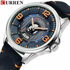 Mens Watches CURREN Leather Wristwatch Analog Army Military Quartz Watch image