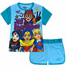 Girls DC Super Hero Set T-shirt and Shorts Set 2 PACK Blue Age 3 4 5 6 7 8 Years
