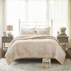 New Cottage Blush Cotton Cover Floral Quilted 3 pcs Coverlet Cal King Queen Set image