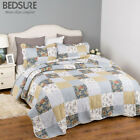 Bedsure Bedding Quilt Set Luxury Bedroom Bedspread Plaid Floral Patchwork Quilt image