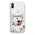 PERSONALISED INITIAL FLOWER PHONE CASE CLEAR HARD COVER FOR SAMSUNG S7 S8 S9 S10