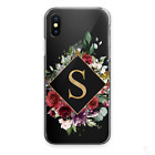 PERSONALISED INITIALS FLOWER PHONE CASE CLEAR HARD COVER FOR NOKIA OPPO ONEPLUS
