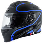 Torc T28B Modular Bluetooth Motorcycle Helmet - Black Vapor Blue - CHOOSE SIZE