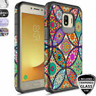 For Samsung Galaxy J2 Shine/Pure/Dash/Core Case, Rubber Patterned+Tempered Glass