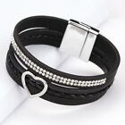 Women Multi-layer Leather Bangle Beads Charm Wrap Cuff Magnetic Buckle Bracelets