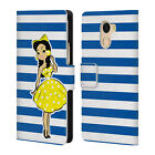 OFFICIAL GRACE ILLUSTRATION STRIPES LEATHER BOOK CASE FOR WILEYFOX & ESSENTIAL