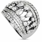 Damiani Queen Cleoparta 18K White Gold Round Pear Full Diamond Ring