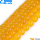 Yellow Jade Gemstone Faceted Round Beads For Jewelry Making Free Shipping 15""