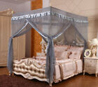 Gray 4 Corners Bed Canopy Curtain Mosquito Net Or Frame Twin Full Queen King image