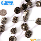 Natural Stone Silver Gray Pyrite Flower Beads For Jewelry Making Free Shipping