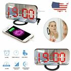 Modern Snooze  Alarm Clock Digital LED Wake Display Portable USB Charge Mirror
