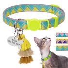 Personalised Cat Breakaway Collar with Name ID Tag Quick Release & Bell Tassel