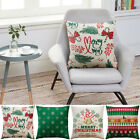 Merry Christmas Square Linen Home Decorative Piilow Case Cushion Cover 45cm GIFT