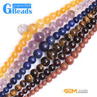 """Assorted Graduated Gemstone Round Beads For Jewelry Making Free Shipping 15"""" GB"""