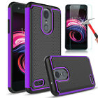 For LG Optimus Zone 4 Rebel 4 Shockproof Armor Phone Case Cover+Screen Protector