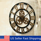 Vintage Retro Outdoor Garden Wall Wooden Clock Big Roman Numeral Giant Open Face
