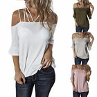 Womens Spaghetti Straps Cold Shoulder Tops Half Sleeve Shirt Sexy Blouse GIFT