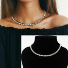 Gold Plated Cz Cubic Zirconia Crystal Choker Necklace Tennis Chain Jewellery Uk