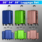 3 Pieces Luggage Set Travel Bag ABS Trolley Spinner Suitcase w/Lock 20 24 28