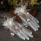 Bride Wrist Lace Bow Gloves Lady Wedding Prom Floral Mesh Gloves Accessories