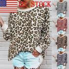 US Fashion Women's Loose Leopard Round Neck Long Sleeve Blouse Tops T shirts 03