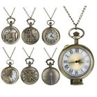 New Vintage Steampunk Retro Bronze Pocket Watch Quartz Pendant Necklace Chain image