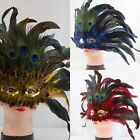 3 Color Halloween Venetian Masquerade Mask with Beautiful Peacock Feathers Party