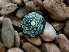 Hand Painted Flower River Rocks Floral Meditation Paper Weight Dot Style Gift