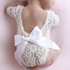 US Newborn Lace Romper Photo Clothing Bow lace Hair Band Set Photography Props