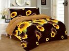 3 Piece Sunflower Brown Yellow Flannel Sherpa Blanket Queen/King Size 7 lbs image