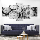 Vintage Clocks B&W Canvas Print Painting Framed Home Decor Wall Art Picture Pic