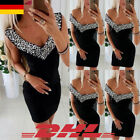 DE Damen Bleistiftkleid V-Neck Bodycon Partykleid Strass Hüfte Cocktail Clubwear