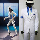 Michael Jackson Smooth Criminal Cos White Suit Uniform Mens Cosplay Costume