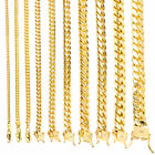 14K Yellow Gold Solid 2.7mm-11mm Miami Cuban Chain Link Necklace Bracelet 7'-30'