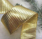 1m x 60mm WIRED EDGE CHRISTMAS RIBBON  GOLD RIBBED SHINY METALLIC  GIFT TREE BOW