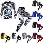 1Set Men's Tracksuit Running Set Compression Gym Yoga Shirt Pants Sports Suits