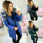 Winter Womens Down cotton jacket big Fur Hood Short Parka Coat outwear
