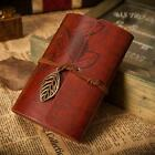 Retro Leather Vintage String Leaf Blank Diary Notebook Journal Sketchbook FZ