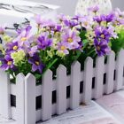 Artificial Flower Fake Rose In Picket Fence Pot Pack Garden Plant Newest #roots