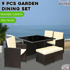 9 Pcs Dining Set Patio Garden Table Chairs Kampen Outdoor Furniture Brown Black