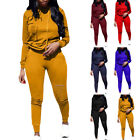 2PCS Women Ripped Hole Pullover Hoodie Sweatpants Sport Jumpsuits Outfits Set