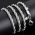 FixedPrice925 silver plated jewelry necklace chain women rope for twist 4mm 16-30