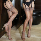 Womens Glossy Ultra-thin Shiny Sheer Lace Stockings Hold Ups Top Thigh High Silk