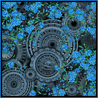 """100% silk square scarf wrap """"Forget-me-nots"""" grey blue floral steampunk"""