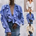 Women's Blouse Ruffled Blouse Sexy V neck Long Sleeve Casual Shirts Tops 03