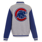 MLB Chicago Cubs Reversible Full Snap Fleece Jacket JH Design Gray Royal on Ebay