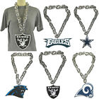 New NFL PICK YOUR TEAM Silver Fanchain Jumbo Big Chain Necklace Foam Made in USA $25.99 USD on eBay