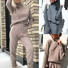Women Knitted Tracksuit Turtleneck Sweater Casual Suit Knit Pants Sporting Suit