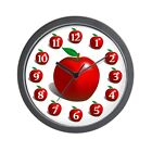 CafePress Red Apple Fruit Pattern Unique Decorative 10 Wall Clock (617183065)